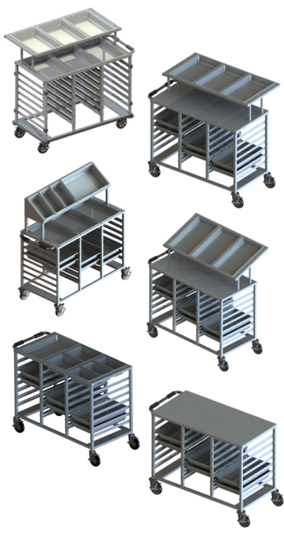 Bulk Food Portioning Trolleys and Starter Stations