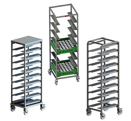 Bus Box, Bin, & Dish Rack Angle Racks, Stainless Steel