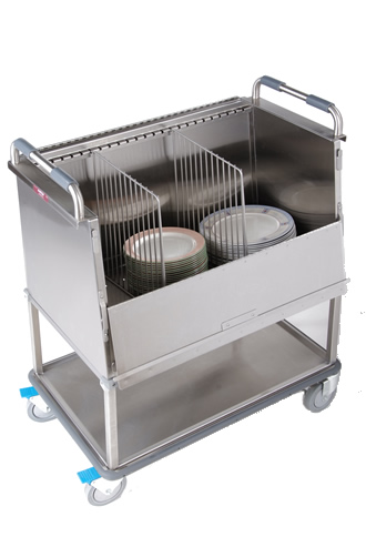 Enclosed raised dish cart