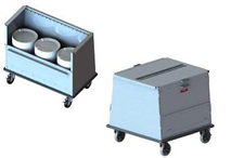 low profile dish cart enclosed