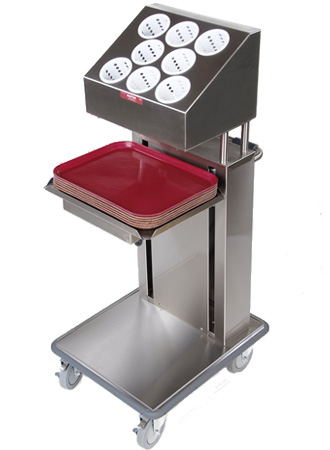 Mobile tray and cutlery cantilever dispenser