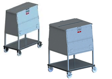 raised height wire dish cart enclosed