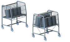 Raised height wire dish cart open